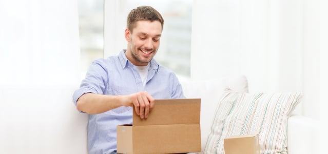 Man opening package